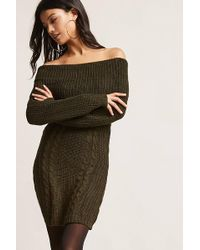Forever 21 - Cable Knit Off-the-shoulder Dress - Lyst