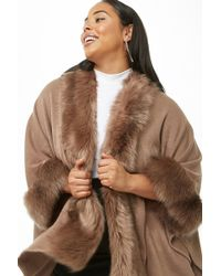 2ff18e285 Forever 21 Faux Fur-lined Coat in Black - Lyst