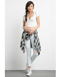 Forever 21 - Distressed Girlfriend Jeans - Lyst