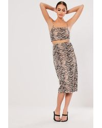 Missguided - Tiger Print Skirt At - Lyst