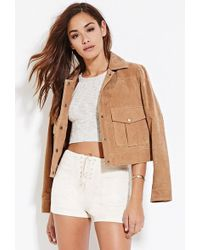 Forever 21 - Women's Faux Suede Lace-up Shorts - Lyst