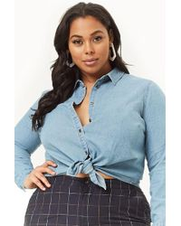 024ff8c96fe Forever 21 Plus Size Cropped Chambray Shirt in Blue - Lyst