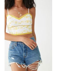54e909e4722 Forever 21 Lace Scalloped Hem Bustier Top in White - Lyst