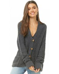 Forever 21 - Hooded Fuzzy Popcorn Knit Cardigan - Lyst
