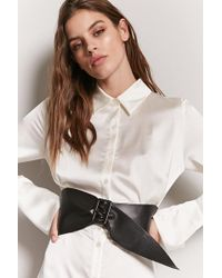 Forever 21 - Wide Faux Leather Waist Belt - Lyst