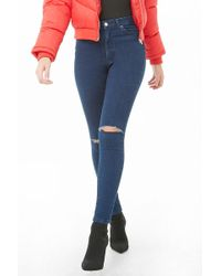 Forever 21 - Sculpted High-rise Skinny Jeans , Dark Denim - Lyst