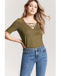 Forever 21 | Strappy Curved Hem Tee | Lyst