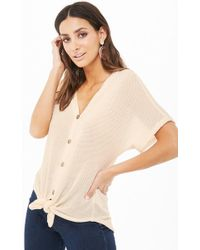 b6faba12895b8 Forever 21 - Sheer Waffle-knit Button Tie-front High-low Top -