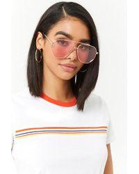 Forever 21 - Metallic Geo Aviator Sunglasses - Lyst