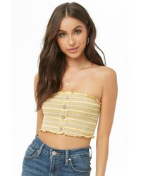0d75c83ad50a8 Lyst - Forever 21 Striped Lettuce-edge Tube Top in Natural
