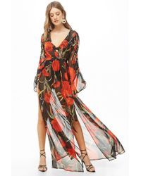 b74ce710a0 Lyst - Forever 21 Sheer M-slit Maxi Dress in Red