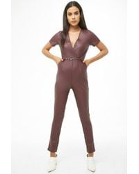d265c5d825e Lyst - Forever 21 Striking Faux Leather Jumpsuit in Black