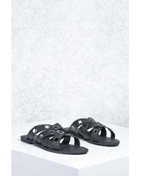 Forever 21 - Faux Leather Grommet Slides - Lyst