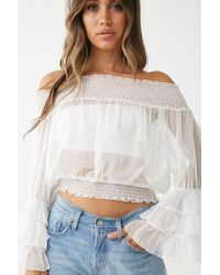 1264de7f1f01ec H&M Off-the-shoulder Top With Lace in White - Lyst