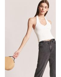 FOREVER21 - Ribbed Knit Halter Top - Lyst