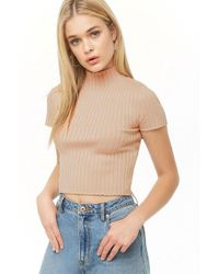 8d17bfd6c37a9 Forever 21 - Metallic Ribbed Mock Neck Top - Lyst