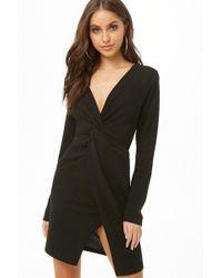 Forever 21 - Twist-front Mini Dress , Black - Lyst