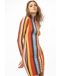 Forever 21 - Striped Mock Neck Mini Dress - Lyst