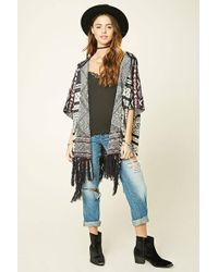 Forever 21 | Fringed Geo-patterned Poncho | Lyst