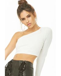 20780f737c48e1 Lyst - Forever 21 Satin Puff-sleeve Top in White