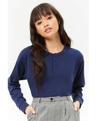 bb454b33abe6a Lyst - Forever 21 Striped Lettuce-edge Top in Blue