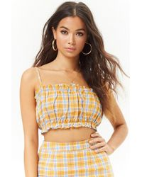 Forever 21 - Check Linen Crop Cami - Lyst
