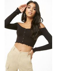 94941fa41c5 Forever 21 Velvet Off-the-shoulder Crop Top in Black - Lyst