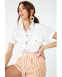 Forever 21 - Gauze Button-front Shirt - Lyst