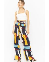 Forever 21 - Multicolored-geo Print Wide-leg Pants - Lyst