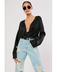 Missguided Plunging Cowl Bodysuit At , Black