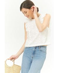 Forever 21 - Eyelet Ruffle Top - Lyst