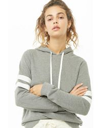 c6920b80f1013 Lyst - Forever 21 French Terry Cropped Hoodie in Metallic