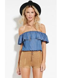 Forever 21 - Lace-up Faux Suede Shorts - Lyst