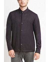 Forever 21 - Collared Pinstripe Drawstring Shirt - Lyst