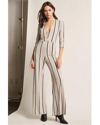 3b8eb244eea Lyst - Forever 21 Striped Wrap Jumpsuit in White