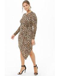 Forever 21 - Women's Plus Size Asymmetrical Leopard Print Twist-waist Dress - Lyst