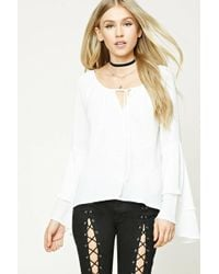 Forever 21 - Tie-front Tiered Sleeve Top - Lyst