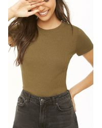 3a0e6e571d809a Lyst - Forever 21 Women s Semi-cropped Slub Knit Tee Shirt in Gray