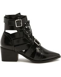 Forever 21 - Stacked Heel Cutout Ankle Boots - Lyst