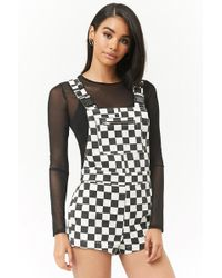 Forever 21 - Checkered Overall Shorts - Lyst