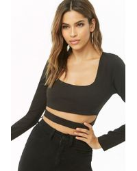 bba3a4e2ef4 Forever 21 Ruched Bell-sleeve Crop Top in Black - Lyst