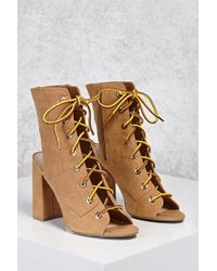 Forever 21 | Lace-up Open-toe Boots | Lyst