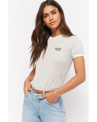 Forever 21 - Women's You, Me, & Oui Embroidered Graphic Ringer Tee Shirt - Lyst
