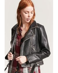 Forever 21 - Distressed Faux Leather Moto Jacket - Lyst