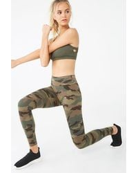 Forever 21 Active High-rise Camo Leggings , Olive/multi - Green