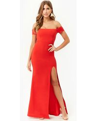 Forever 21 - Women's Ruffled Off-the-shoulder Gown Dress - Lyst
