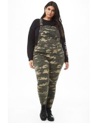 9952e45c06c Forever 21 - Women s Plus Size Camo Print Dungarees - Lyst