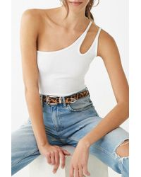 10e1909f2cd8e Lyst - Forever 21 Buckle-strap Ribbed Crop Top in White