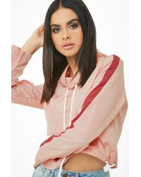 Forever 21 - Striped-trim Cowl Neck Anorak , Pink/red - Lyst