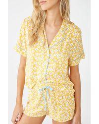 Forever 21 Floral Print Pyjama Set , Mustard/blue - Yellow